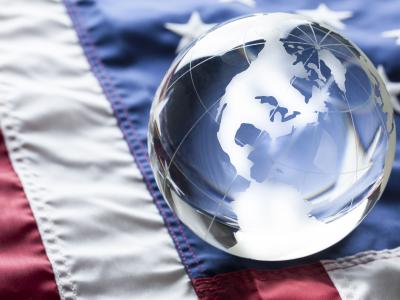 World globe on American flag