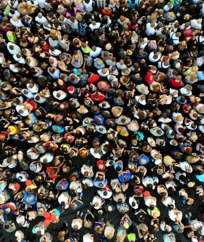 Aerial view of a large crowd of people