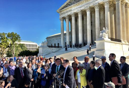 Speakers outside Supreme Court partisan gerrymandering rally