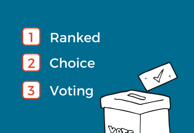 Graphic showing three check boxes numbered by a ballot box