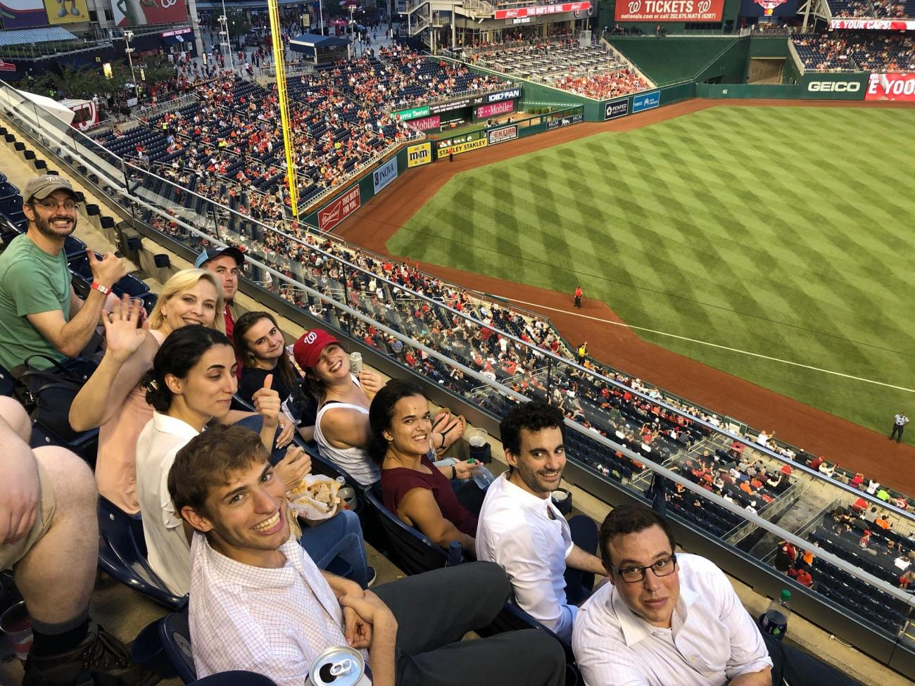 Interns watch Nationals Play